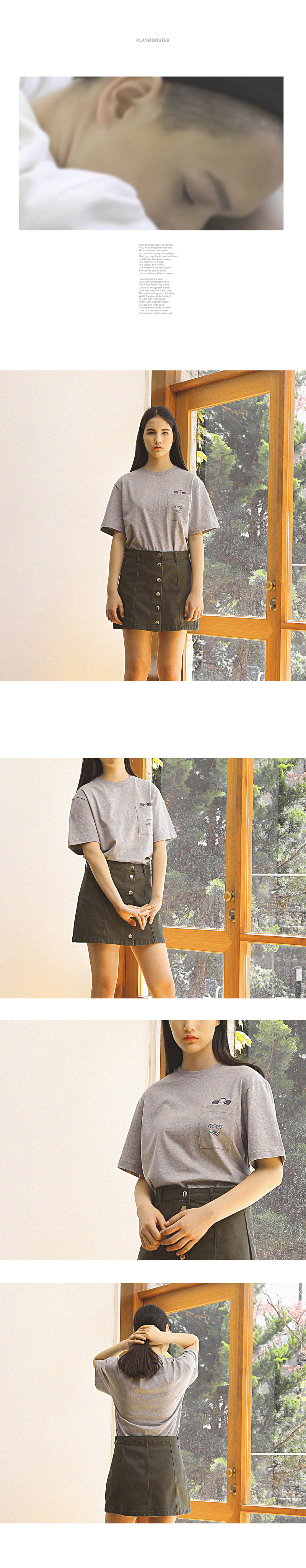 [플레이몬스터]POCKET HOBO T-SHIRTS GRAY