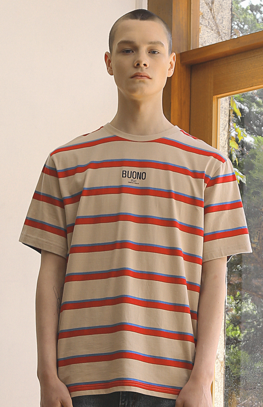 BUONO STRIPED T-SHIRTS / BEIGE