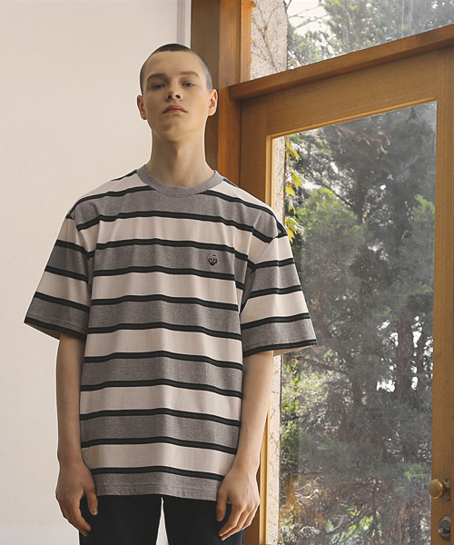 HOBO STRIPED T-SHIRTS / GREY