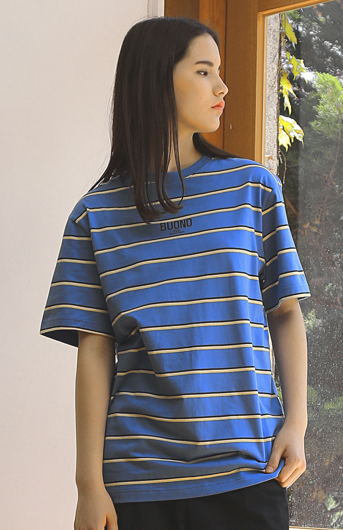 BUONO STRIPED T-SHIRTS / BLUE